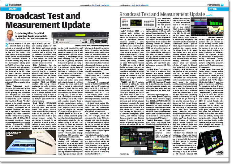 Broadcast Test & Measurement Update