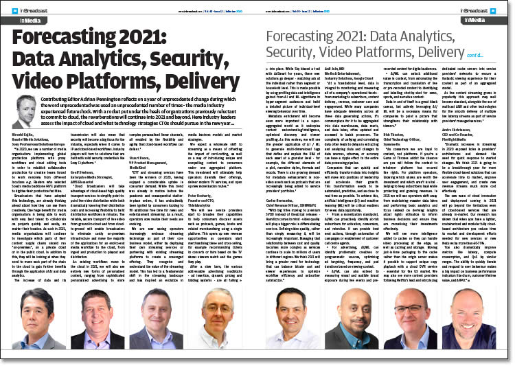 Forecasting 2021: Data Analytics, Security, Video Platforms, Delivery